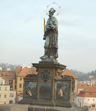 Statue of St. John of Nepomuk on the Charles Bridge in Prague