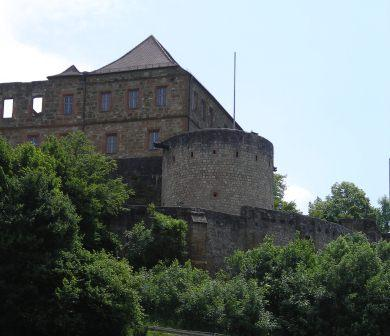 Geichberg Castle from the North with NW Tower and Schoss