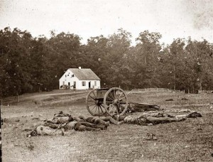 Antietam and Dunker Church after the battle in 1862