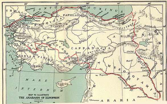 The route of Xenophons March Up Country