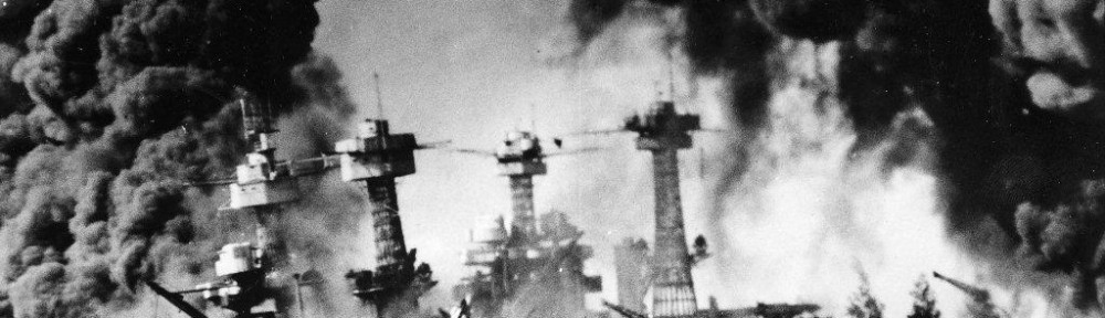 The US Ships on Battleship Row burning in the wake of the Japanese attack on the morning of December 7th, 1941.