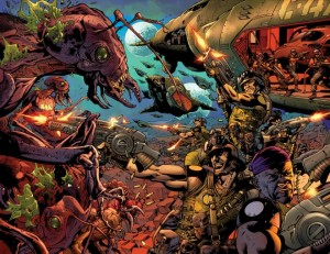 Formic Wars Graphic Novel variant cover art by Bryan Hitch.