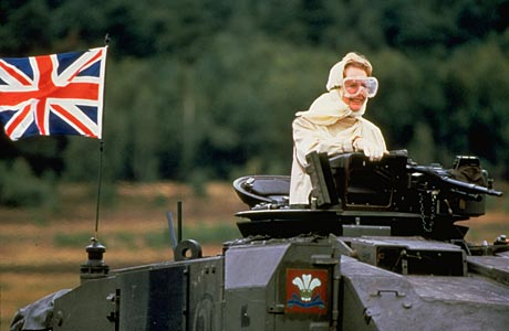 Lady Thatcher riding in a Tank