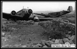 Maleme Airfield along the beach with destroyed German Transports