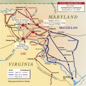 Movements at the Battle of Antietam Sep. 3-17, 1962 Map Courtesy CivilWar.org