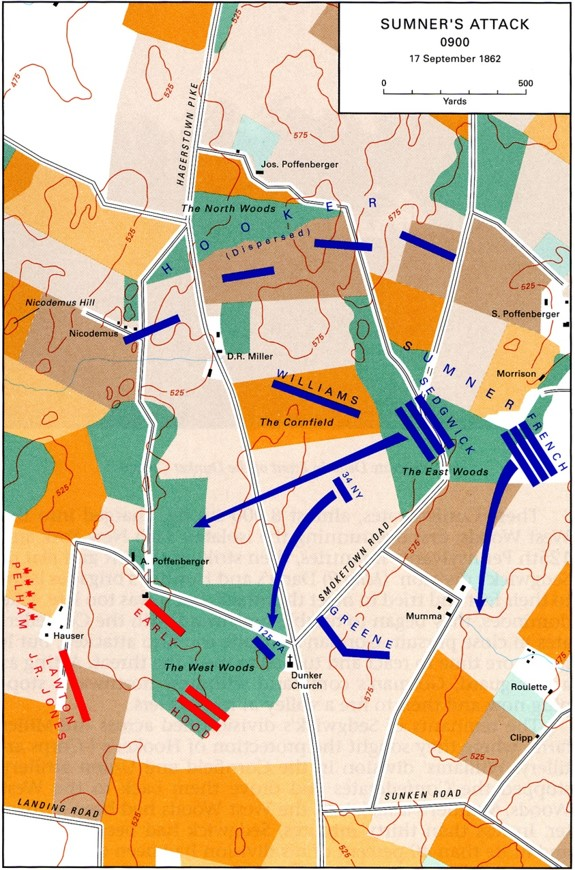 Morning attacks of the battle. Map Courtesy USACMH
