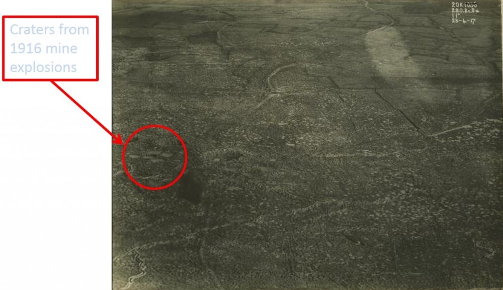 Aerial Photo of the Messines Ridge around St. Eloi taken on 23 Apr 1917 during planning for the battle