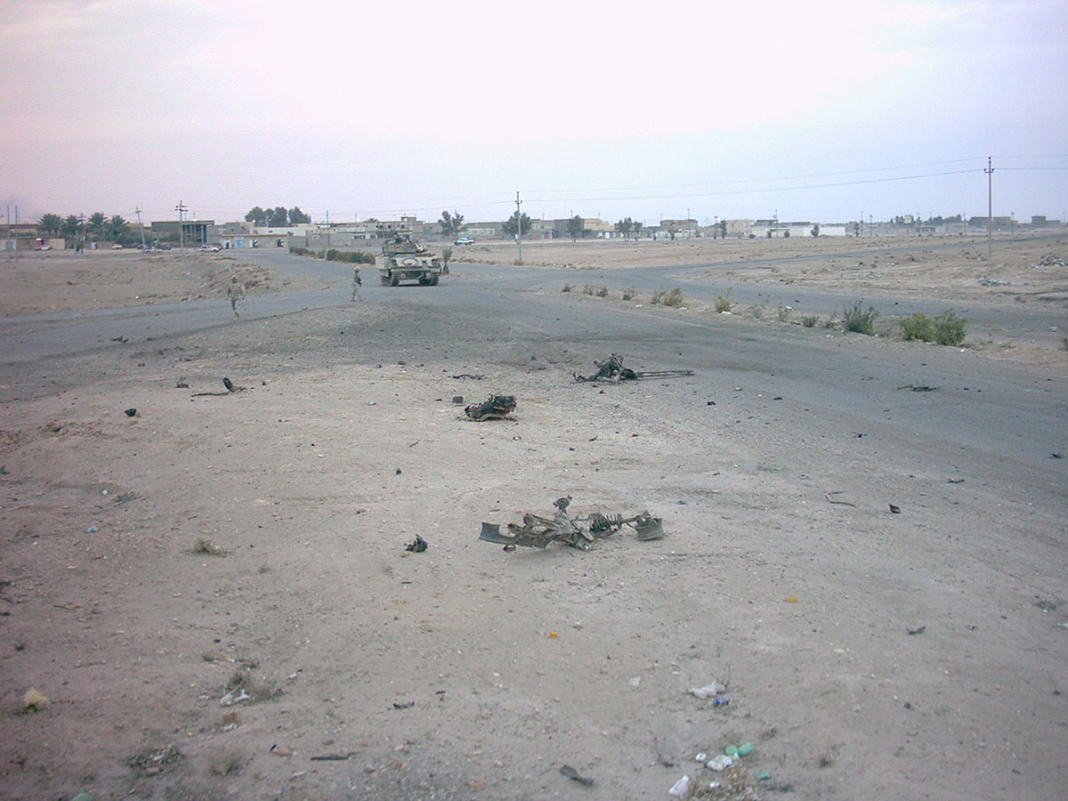 Remains of a prematurely detonated Car Bomb (VCIED) outside of Ad-Daw, Iraq in January 2005
