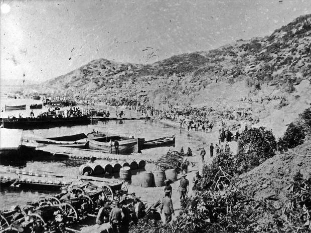 Anzac Cove shortly after the Start of the Dardanelles Operation