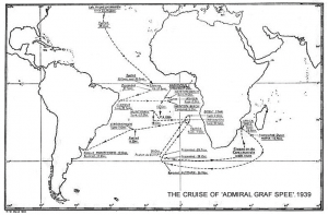 Cruise route of the Graf Spee