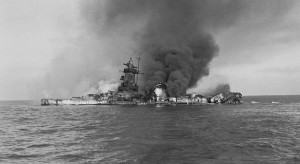 Graf Spee bruning in the Outer Harbor of Montevideo after being scuttled