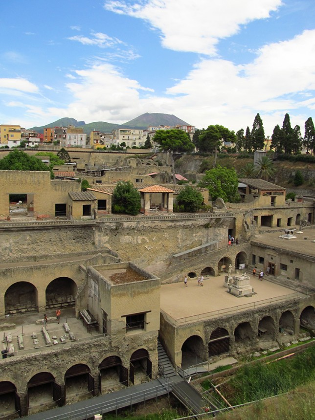 View looking over Herculaneum from near the ticket kiosk