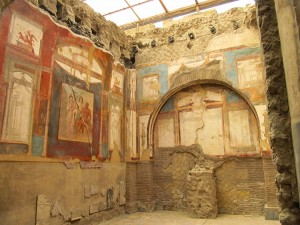 Inside the College of the Augustuli with surviving Frescoes