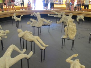 INside the temporary exhibit in the Amphitheater with casts of victims